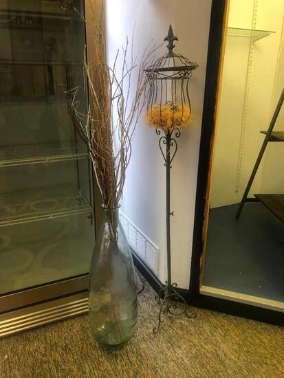 (2) Large Glass Vase, Metal Plant Stand with Assorted Decor See Photos for Details
