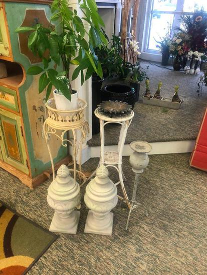 (8) Three Plant Stands, Two Metal Sunflower Wall Decor, Two Small Garden Statues, One Potted Plant