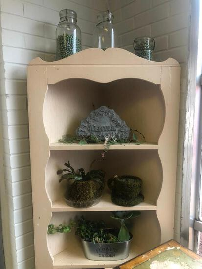 (7) Three Jars of Glass Beads, Welcome Sign, Two Moss Teacup Planters, Flowers and Garden Planter