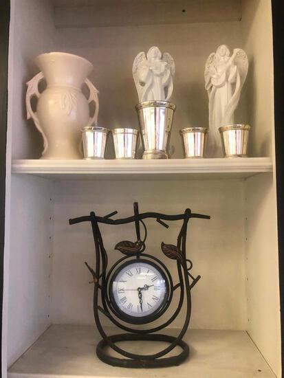 (9) Five Small Metallic Vases, White Vase, Two White Angel Statues, Clock with Metal Leaf Detailing