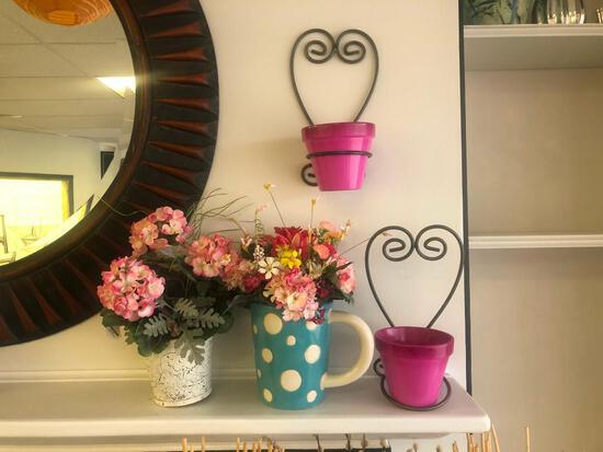 (6) Artificial Plants with Pots, Two Small Pink Pots, Two Black Heart Shaped Pot Holders