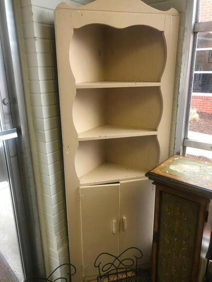 Wooden Corner Cabinet with 2 Bottom Doors, Cream Color