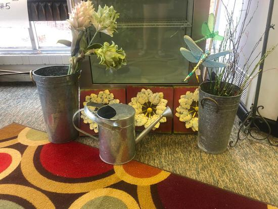3 Galvanized Cans, Sprinkler Can, 3 Metal Wall Prints of Flowers, Misc. Decorations
