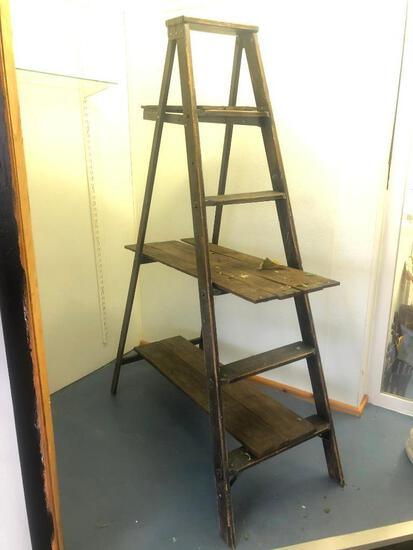 Wooden Distressed Store Display Ladder, Used as Plant Stand or Display