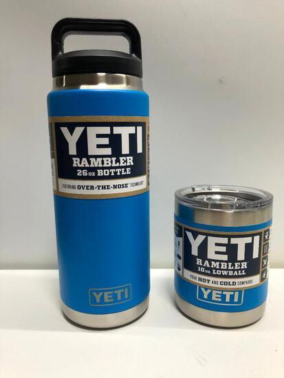 Lot of 2 26oz Yeti Tahoe Blue Bottle Yeti 10oz Tahoe Blue Lowball with lid