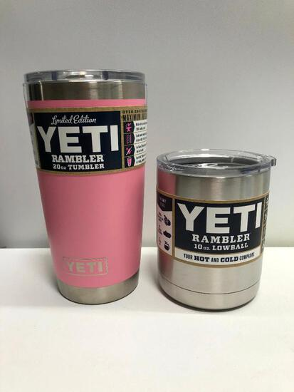 Lot of 2 Yeti 20oz Limited Edition Pink Tumbler and Yeti 10oz Yeti Stainless Steel Lowball