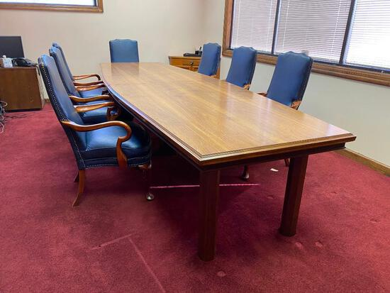 Solid Wood Conference Table & Seven Chairs, 12ft Long, 4ft Wide, 30in High