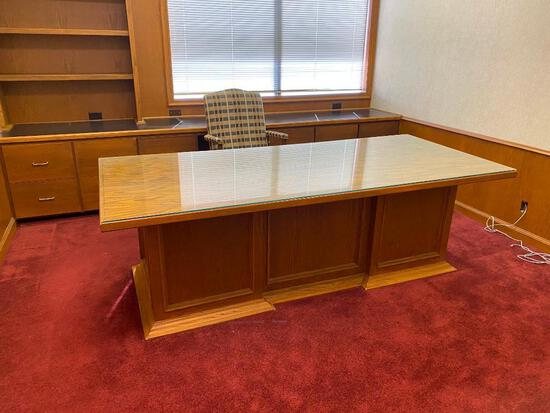 Executives Desk w/ Vintage Office Chair, Glass Top for Desk 87in x 39in x 30in