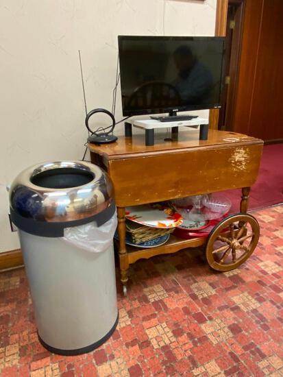 Sanyo TV, Tea Cart, Cabinet, Trash Can, Clock