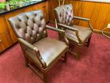 Lot of 2 Nice Leather and Wood Executive Chairs