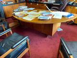 Handmade Wooden Office Desk, Half-Moon Shaped Top - Item In Use, Will Schedule Later Pickup