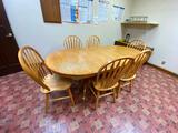 Dining Room Table, Oak w/ 6 Oak Chairs, 1 Large Center Leaf, 42in x 84in (w/ Leaf)