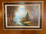 Oil Painting or Print, Framed by M Sanders 44in x 32in c. 1972