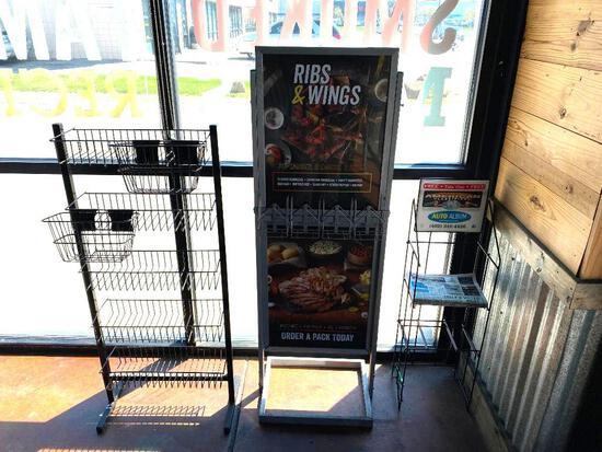 Lot of 3 Signs or Stands, Merchandiser Rack, Marketing Floor Sign, Trade Paper Rack