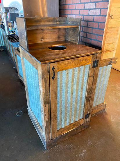 Rustic Tin and Wood Trash Receptacle