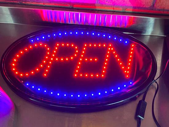 LED Open Sign, Works Good, Some of the Black Paper on the Right Side Needs to be Re-Glued
