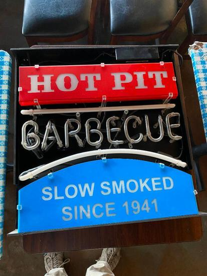 Hot Pit Barbecue Neon Sign, Sign Intact but Doesn't Light Up