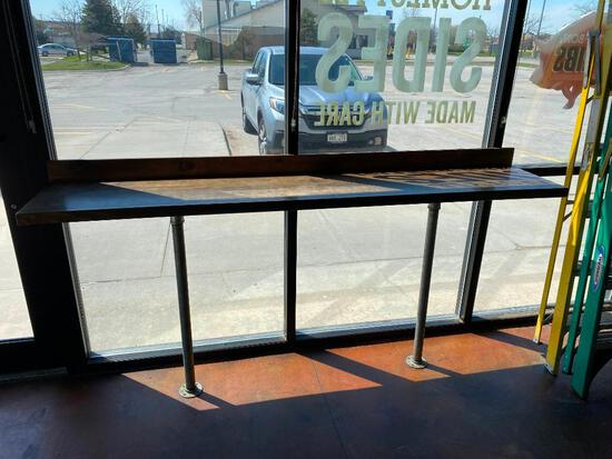 High Top Wood Counter for Customer Seating, 90in Wide, 42in High
