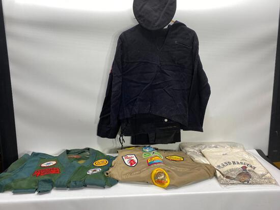 Vintage Fishing & Rifle Shirts w/ Patches, Navy Uniform, Upland Habitat Shirts