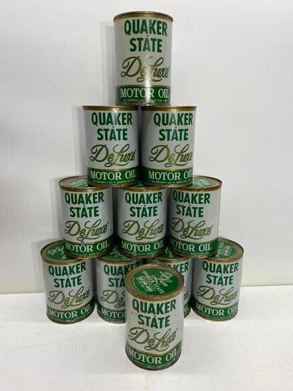 11 New Old Stock Metal Oil Cans, Quaker State DeLuxe Motor Oil 10W-40HD