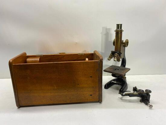 Bousch & Lomb Optical Brass & Cash Iron Microscope w/ Original Wood Case
