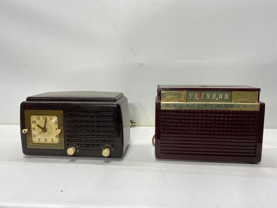 Two Vintage Bakelite Radios, General Electric & Westinghouse H422P4