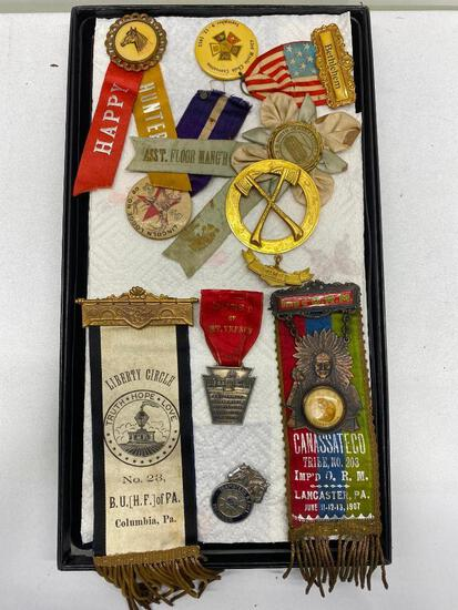 Early Badges & Ribbons, Pins, Fire Departments, Imp'd O.R.M. 1907 Tribal Ribbon, Horse Awards