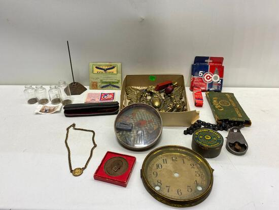 Misc. Smalls, Metal Dexterity Game, Brass Door Knocker, Oddities, Crown Bicycle Chain