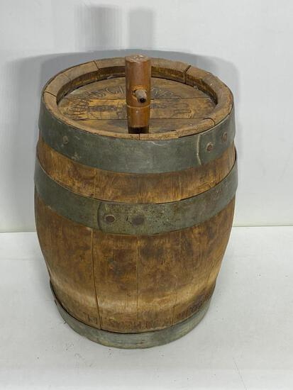Early Mound City Brewing Co Wooden Beer Keg w/ Bung, Iron Band, Rare, New Athens ILL