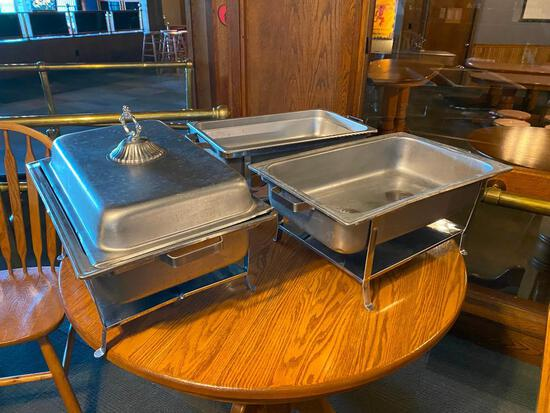3 full size chaffing pans - 1 w/ lid