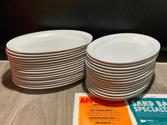 "Lot of 30, Thunder Group NUSTONE NS510W Melamine Narrow Rim Oval Platter 9 1/2"" x 6 3/4"""