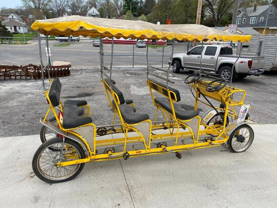 6 Seat Bike - Surrey Style Yellow Six Seat Cycle, Made in Italy