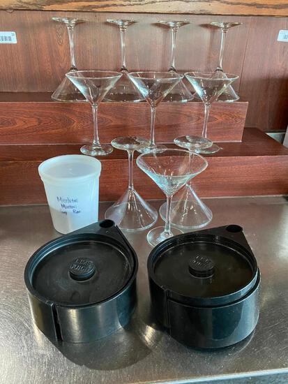 10 Martini Glasses, 2 Salted/Sugar Rim Lime Juice Trays, Some Sugar