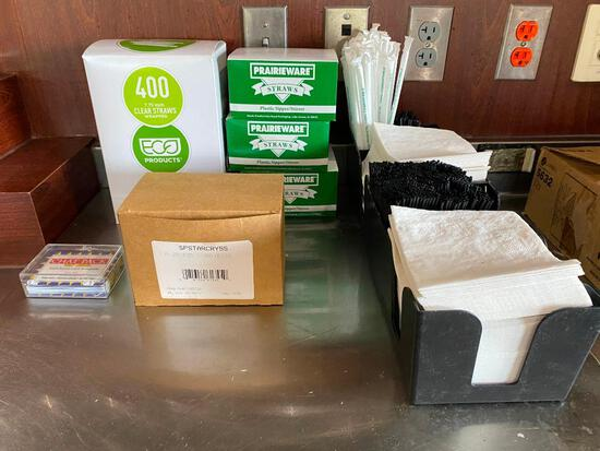 Bar Supplies, 2 Napkin/Straw Containers, Boxes of Straws, Stirrers, Arrow Sticks