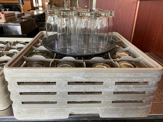 26 Glass Highball Drink Glasses & Rack