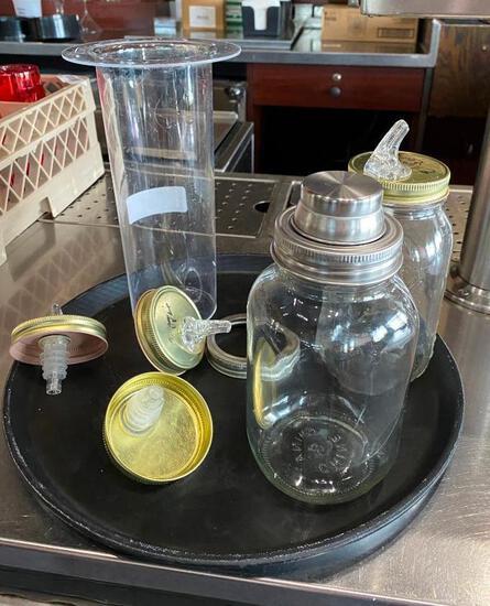 Mason Jar Cocktail Shaker, Mason Jar Bottle Pourer, Misc. Mason Jar Lids, Tray