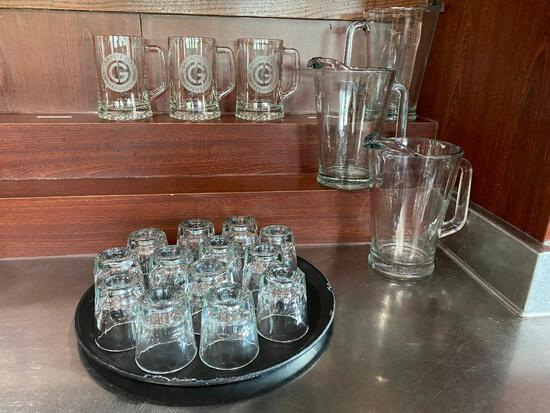 3 Glass Beer Pitchers, 3 GC Beer Mugs, 13 Rocks Glasses, 1 Cocktail Tray