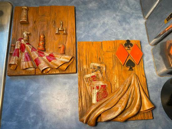 Mid-Century Modern Heavy Plaster Cards & Chess Wall Hangings