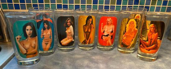Lot of 9 Peep Show Girlie Nude Girl Drinking Glasses, When Drink is Full Clothes are On, When Empty