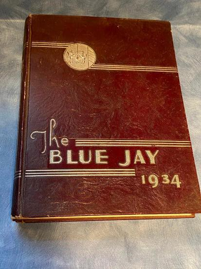1934 Creighton University Yearbook w/ Beautiful Embossed Bluejay and Writing