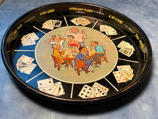 Vintage Mid-Century Tin Cocktail Tray Poker Card Night Theme