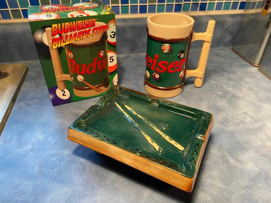 Vintage Billiards Pool Table Ashtray, Japan & 1996 Budweiser Billiards Stein CS 278