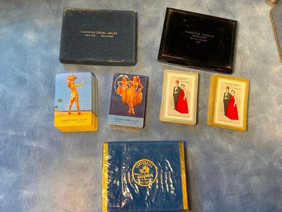 Vintage Double Decks of Playing Cards, NOS Nebraska Centennial, Omaha Tangier