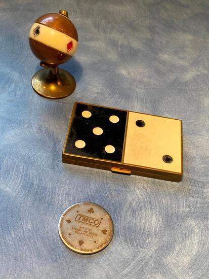 Vintage Dice Theme Compact, Brass Globe Card Pip Card Marker, Card Pip Adv. Token