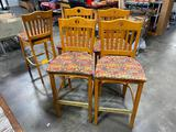 Lot of 5 Shelby Williams Bar Stools, Great for Pub Tables or Home Bar, Solid Wood, Padded Seat