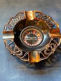 Vintage Mid-Century Modern Miniature Roulette Ashtray, Bronze, Real Spinning Action