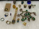 Vintage Costume Jewelry, Rings, Charm Bracelet, Watch, Pins