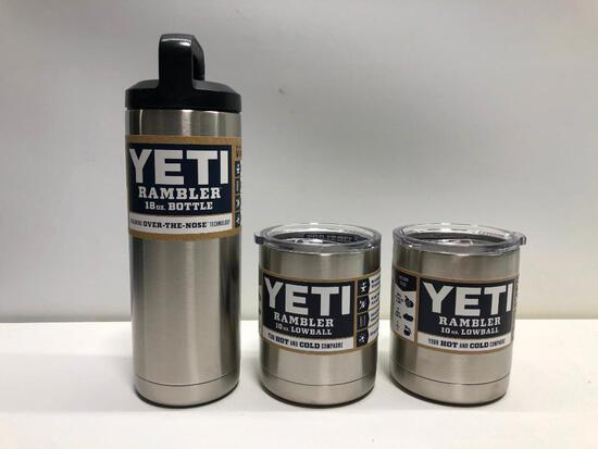 Lot of 3 Stainless Yeti 18oz Bottle 2 Yeti 10 oz Lowballs with lids