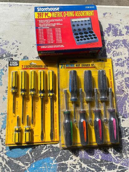 Lot of 3; 7 Piece Metric Nut Driver Set, 7 Piece Screwdriver Set, 397 Pc. Metric O-Ring Assortment