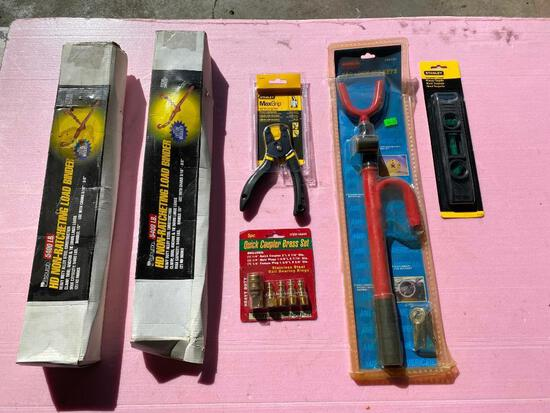 Lot of 6; (2) HD Non-Ratcheting Load Binder, Level, Self-Adjusting Pliers, 5pc. Quick Coupler Brass